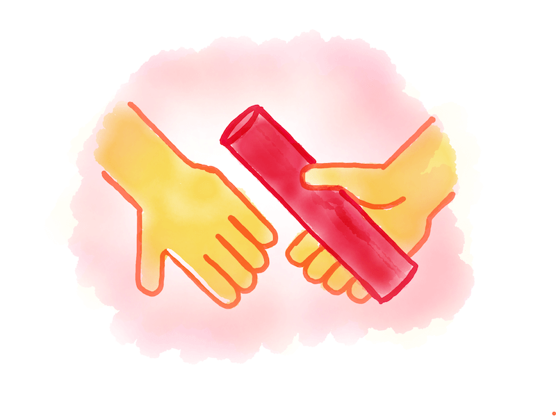 Illustration of two hands passing a baton