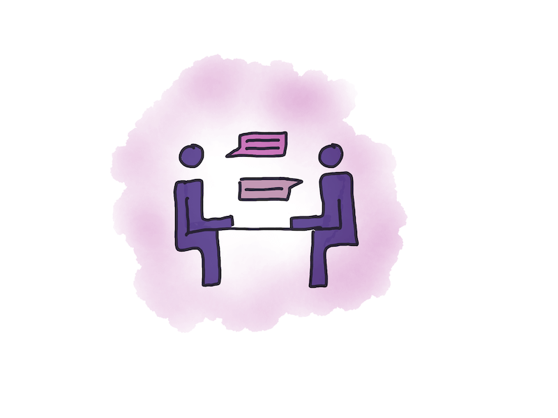 Illustration of two people sitting at a one on one meeting